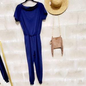 Royal blue jumpsuit short sleeve w pockets